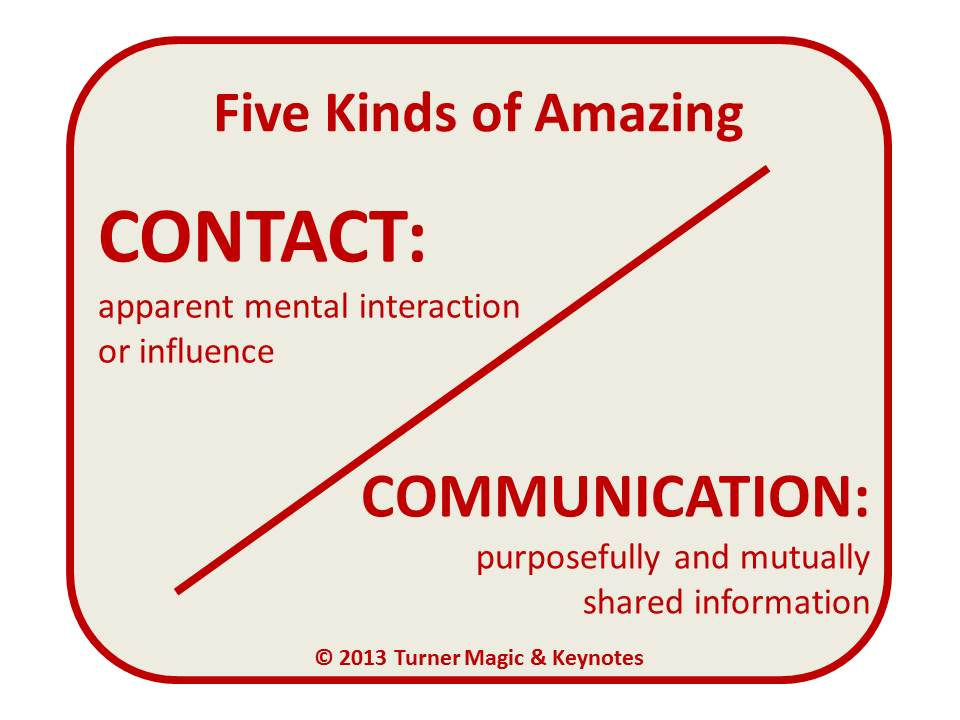 Five Kinds of Amazing: Contact and Communication