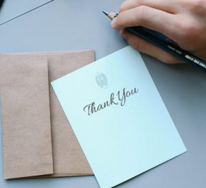 I did try to smooth the rough edges of this experience with a thank you note.