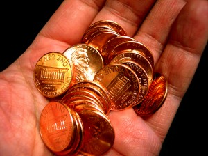 Planting a lucky penny can bring a quick smile to someone's face.  Keep a few in your pocket - and when you leave them, make sure they're face up!