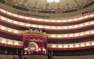 The interior of the Alexandrinksy Theatre creates an expectation that what happens onstage will be worthy of the environment.