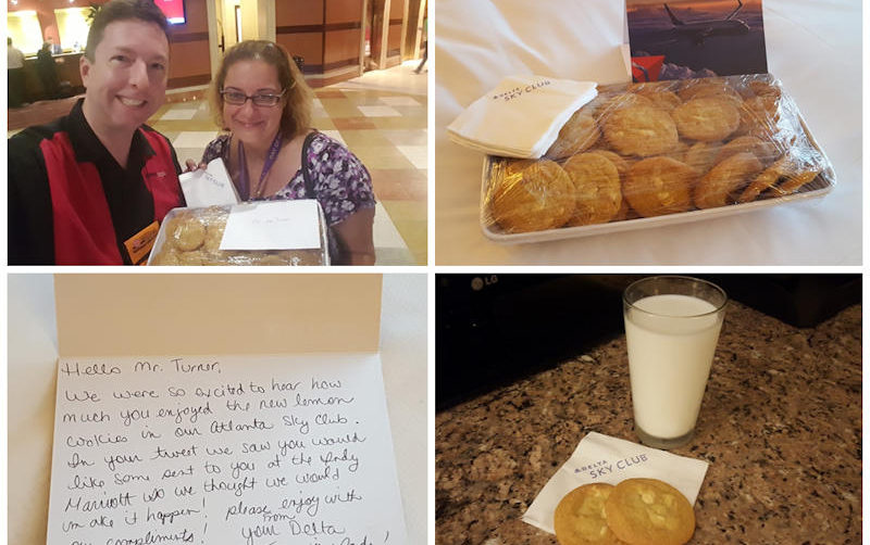 Indianapolis Delta Sky Club Station Manager Christa Khalileh surprised me with a platter of lemon cookies and a thank you note. I replied with a milk-and-cookies nightcap that night.