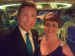 Rosemary and I continued our beginning ballroom dance classes on this cruise. She danced with me and lived to tell about it!