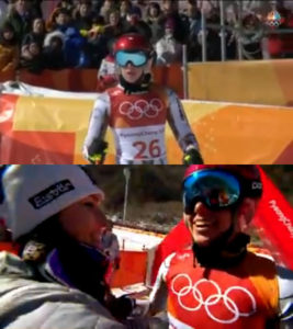 Above, Ester Ledecka doesn't quite realize she's won gold. Below, Veith congratulates Ledecka.