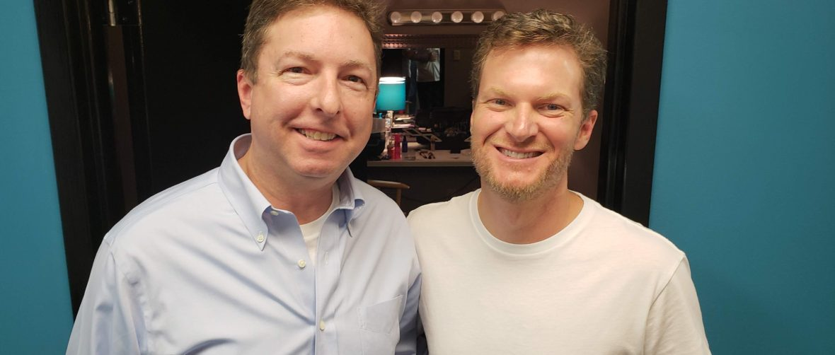 With Dale Earnhardt Jr. while shooting a commercial.